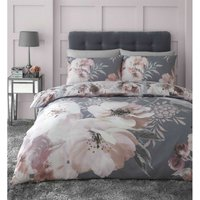 Dramatic Floral Grey Duvet Cover Set Bedding Double - Catherine Lansfield