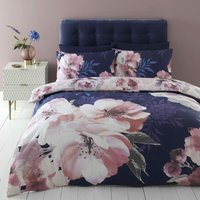 Dramatic Floral Navy King Size Duvet Cover Set Easy Care Bedding - Catherine Lansfield