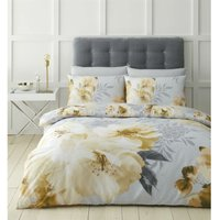 Dramatic Floral Ochre Double Duvet Cover Set - Catherine Lansfield