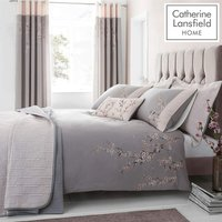 Catherine Lansfield Embroidered Blossom Double Duvet Set Grey - BIANCA