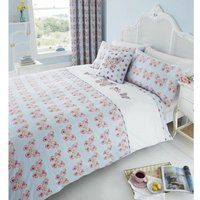 Catherine Lansfield Embroidered Butterfly Duvet Cover Set - Super King Duck Egg