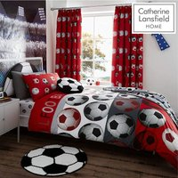 Catherine Lansfield Football Duvet Cover And Pillowcase Bedding Set - Single Red