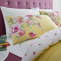 Catherine Lansfield Lille Floral Yellow Easy Care Double Duvet Set Bedding Set - BIANCA