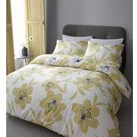 Lily Ochre King Size Duvet Cover Set Reversible Bedding Quilt - Catherine Lansfield