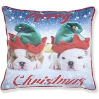 Merry Christmas Dogs Cushion Cover 43 x 43cm Bed Sofa Accessory Unfilled Christmas