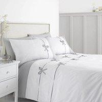 Catherine Lansfield Milo Bow White Single Duvet Cover Set Luxurious Bedding Bed Set