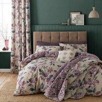 Bianca - Catherine Lansfield Purple Floral Single Duvet Cover and Pillowcase Set Reversible Cotton Rich