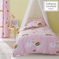 Catherine Lansfield Rainbow Swan Easy Care Double Duvet Set Pink