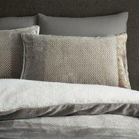 Catherine Lansfield So Soft Banded Velvet Sherpa Double Duvet Set Natural