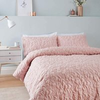 So Soft Pinsonic Floral Blush Super King Duvet Cover Set Quilted - Catherine Lansfield