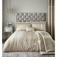 Velvet Sparkle Champagne Super King Size Duvet Cover Set Bed Set - Catherine Lansfield