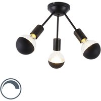 Qazqa - Ceiling lamp black 3-light incl. G95 half mirror - Sputnik