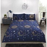 Celestial Moon Stars Reversible Bedding Double Duvet Set Blue
