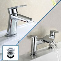 Centa Basin Mixer and Bath Filler Tap + Basin Waste - NESHOME