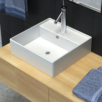 Ceramic Basin Square with Overflow and Faucet Hole 41 x 41 cm - White