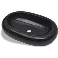 Ceramic Bathroom Sink Basin Black Oval - Black