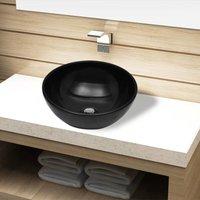 Ceramic Bathroom Sink Basin Black Round - ASUPERMALL