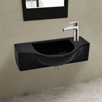 Ceramic Bathroom Sink Basin with Faucet Hole Black VD04209