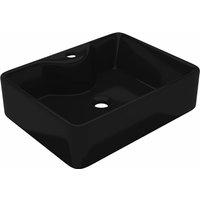 Ceramic Bathroom Sink Basin with Faucet Hole Black Square - Black