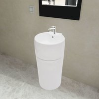 Ceramic Stand Bathroom Sink Basin Faucet/Overflow Hole White Round VD04220