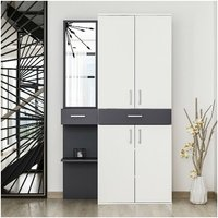 Cersei Hall Unit - Closet, Coat Rack, Shoe Bench - with Mirror, Doors, Drawer, Shelves - White, Anthracite, made in Wood, 105 x 35 x 180 cm
