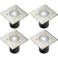 CGC 4 x Set of In Ground Walkover Driveover GU10 Stainless Steel Sqaure Decking Garden Lights - CGC LIGHTING