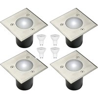 CGC 4 x Set of In Ground Walkover Driveover GU10 Stainless Steel Square Decking Garden Lights FREE GU10 BULBS - CGC LIGHTING