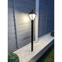CGC Black LED Post Lantern Outdoor Light 3000K Warm White IP44 Ideal for Garden Patio Driveway Pathway Pole Bollard - CGC LIGHTING