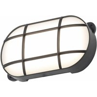 Cgc Lighting - CGC Black Oval Grid Bulkhead Outdoor 8W LED IP65 Black Polycarbonate 160mm Diameter 4000K 400lm Indoor Garden Patio Terrace