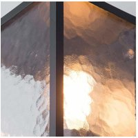 CGC Black Rectangle Outdoor Wall Lantern Water Frosted Glass Effect Waterproof Garden Patio Porch Light Conservatory - CGC LIGHTING