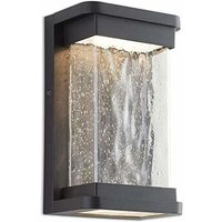CGC LED Rectangular Traditional Country Style Bubble Glass Diffuser LED Wall Light 3000k Warm White 16W 600lm Black Finish IP44 Garden Porch Patio