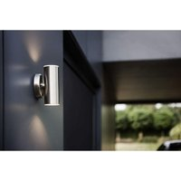 Cgc Lighting - CGC LED Stainless Steel Up and Down Outdoor Wall Light 18W 3000k Warm White Cylinder Ideal for Garden Patio Driveway Pathway