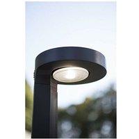CGC Modern New LED Solar Round Post Bollard Light 2W 200lm 4000k Natural White Anthracite Dark Grey Finish IP54 Garden Porch Patio Outdoor Shed Light