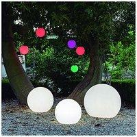 CGC Outdoor Garden White Solar Round Globe Light RGB Controllable Colour Changing 40cm Floor Table Grass Patio Lawn Garden Modern Trendy Furniture