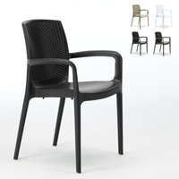 Chaises de Jardin Boheme Grand Soleil Bar avec accoudoirs Poly-rotin | Noir