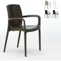 Chaises de Jardin Boheme Bar avec accoudoirs Poly-rotin | Marron - Grand Soleil