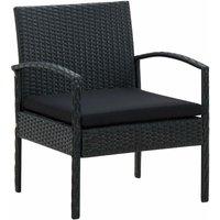 Vidaxl - Chaise de jardin avec coussin Résine tressée Noir