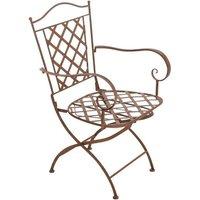 Chaise de jardin en fer forgé marron vieilli avec accoudoir - marron - DéCOSHOP26