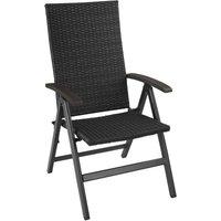 Chaise de Jardin Pliante Réglable en Aluminium et Résine Tressée 68 cm x 58 cm x 107,5 cm Noir - TECTAKE