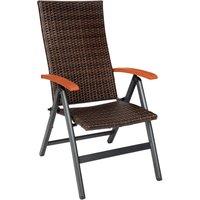 Chaise de Jardin Pliante Réglable en Aluminium et Résine Tressée 68 cm x 59 cm x 109 cm Marron
