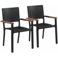 Chaise d'extérieur 2 pcs Résine tressée Noir - VIDAXL