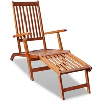 Chaise de terrasse avec repose-pied Bois d'acacia solide chaise longue - YOUTHUP