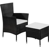 Vidaxl - Chaise et tabouret d'extérieur et coussins Résine tressée Noir