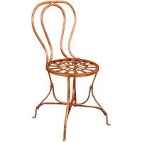 Chaise de salle à manger de jardin d'extérieur en fer forgé finition rouge antique - BISCOTTINI