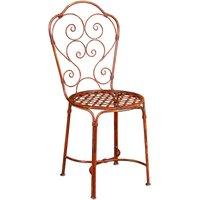 Chaise de salle à manger de jardin d'extérieur en fer forgé avec finition rouge antique - BISCOTTINI