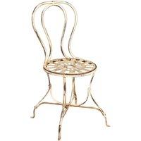 Chaise de salle à manger de jardin d'extérieur en finition blanc antique en fer forgé - BISCOTTINI