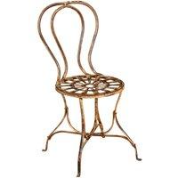 Chaise de salle à manger de jardin d'extérieur en finition crème antique en fer forgé - BISCOTTINI
