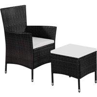 Zqyrlar - Chaise et tabouret d'extérieur et coussins Résine tressée Noir