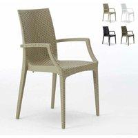 Chaises de jardin fauteuil accoudoirs bar café restaurants en Poly-rotin BISTRO ARM Grand Soleil | Beige