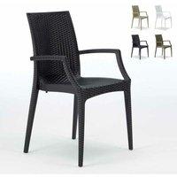 Chaises de jardin fauteuil accoudoirs bar café restaurants en Poly-rotin BISTRO ARM Grand Soleil | Noir